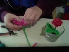 Pipe Cleaner Rose Pot, Part I - the Rose  by http://www.pipecleanercrafts.co.uk