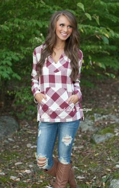 The Pink Lily Boutique - Happy Trails Burgundy Plaid Hoodie, $39.00 (http://thepinklilyboutique.com/happy-trails-burgundy-plaid-hoodie/)