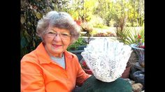 My Draped Mothers old crochet doily and dollar trees creation pot. Nov 16 2017 My Draped Mothers old crochet doily and dollar trees creation pot. USA I am Helen from Ga. I love making Portland cement Projects. I Love my Rock Garden. Diy Cement Planters, Cement Flower Pots, Concrete Pots, Concrete Crafts, Concrete Projects, Cement Art, Portland Cement, Garden Crafts, Garden Projects