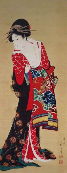 遊女図 嶺斎北子筆(朱文方印 二顆 判読不明) 絹本着色(85.6×34.0) 本図も享和期から文化初年にかけて制作されたものと思われ、北斎のオリジナルに比べ、やや下膨れの強い顔立ちが特徴的な美人画である。重く落着いた色合いの打掛に鮮やかな赤と緑のコントラストは北斎の「二美人」(MOA美術館収蔵)に通じるものがある。 通常、墨描線で衣紋の輪郭を描いて顔料を賦彩したのち、墨の輪郭に再度金泥で細い線を加えることはあるが、この絵では墨描線の所々を濃墨でなぞり、描線そのものに影を付けることで、短調になりがちな衣紋の線に鮮やかな動きを与えている。こうした描法は葛飾派の肉筆画に限って見られるものである。