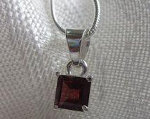 Square Garnet, Silver Pendant Necklace