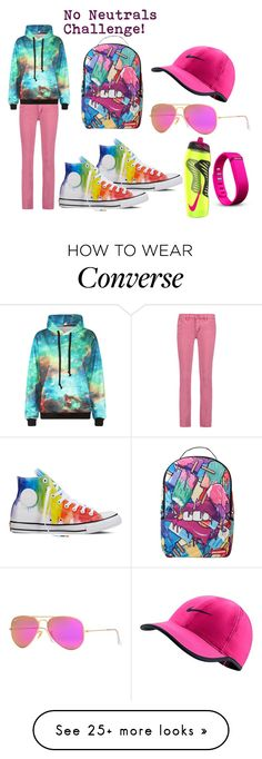 """""""No Neutrals Challenge! 2"""" by tj-hinako on Polyvore featuring Tory Burch, Converse, Sprayground, NIKE, Ray-Ban and Fitbit"""