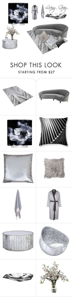 """""""Living Gray"""" by zinchik ❤ liked on Polyvore featuring interior, interiors, interior design, home, home decor, interior decorating, Eichholtz, Yves Delorme, Worlds Away and Orrefors"""