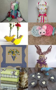 Treasury featuring our new Gent Lemon fat quarter fabric bundle new for spring