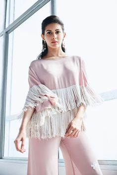AMYRA DASTUR Statement Sleeves & Fringe Outfit by Ohaila Khan Earrings by Ikroop
