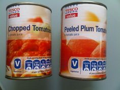 Tesco's chopped and plum tomatoes
