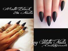 20 Matte Hand Painted Full Cover False Nails Stiletto Mystery Black +Glue #Emitokyonails
