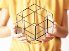Meet Rhombic Triacontahedron! Handmade glass terrarium displaying one of the most charming Catalan solids in geometry. This geometric planter is handcrafted