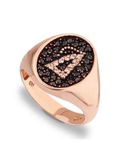Δαχτυλίδι Χρυσό 9Κ σε Ροζ Χρώμα με Ζιργκόν Αναφορά 008838 Δαχτυλίδι από Χρυσό Κ9 σε ροζ χρώμα με μονόγραμμα, διακοσμημένο με ημιπολύτιμες πέτρες (ζιργκόν) σε μαύρο και λευκό χρώμα. Druzy Ring, Watches, Rings, Jewelry, Fashion, Moda, Jewlery, Wristwatches, Jewerly