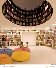 Lovely library; I imagine one would have to rappel from the ceiling to access the ones above. That would be fun!