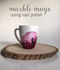 Dollar Store Crafts - Marble Mugs Using Nail Polish - Best Cheap DIY Dollar Store Craft Ideas for Kids, Teen, Adults, Gifts and For Home Diy Christmas Mugs, Handmade Christmas Gifts, Homemade Christmas, Holiday Gifts, Valentine Gifts, Upcycled Crafts, Easy Diy Crafts, Creative Crafts, Dollar Store Hacks