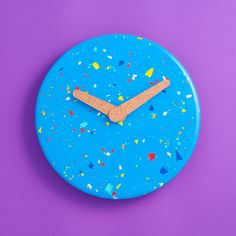 Hand poured Jesmonite clock with contrasting multi-coloured chips. Each handmade clock is produced in limited numbers and will always vary in pattern and finish. We celebrate the colourful imperfections. Handmade Clocks, Terrazzo, Im Not Perfect, It Is Finished, Cork, Pattern, Stones, Hands, Etsy