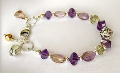 Ametrine Artisan Bracelet Amethyst Citrine por jQjewelrydesigns