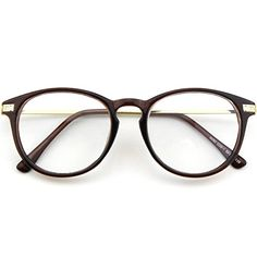 Happy Store CN92 Fashion Keyhole Metal Temple Oval Horn Rimmed Clear Lens GlassesBrown ** Details can be found by clicking on the image.