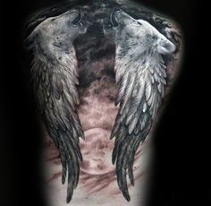 Angel Wings Wolf With Moon Mens Full Back Tattoos