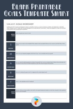Blank Printable Goals Template Smart Goals Template, Action Plan Template, Writing Goals, Start Writing, Smart Goals Worksheet, Physical Education Lessons, Making Goals, Estimate Template, Time Based