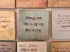 """Words to Live By (4x4) """"Imagine, Believe, Receive."""" on Etsy, £4.36"""