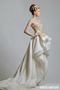 My favorite - Krikor Jabotian Gold and White Wedding Gowns