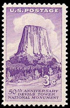 The Devils Tower, Wyoming.  U.S. Postage issued on Sept. 24, 1956 commemorating the 50th anniversary of the sight being the first national monument of the United States; made so by President Theodore Roosevelt in 1906.  Stamp designed by C. R. Chickering; engraved by A. W. Dintaman. Scott catalog# 1084.