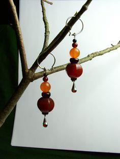 Les mignonnes (The Cuties) Sterling Silver (or 22K) dark orange carnelian, garnet, orange apricot carnelian, black agate earrings
