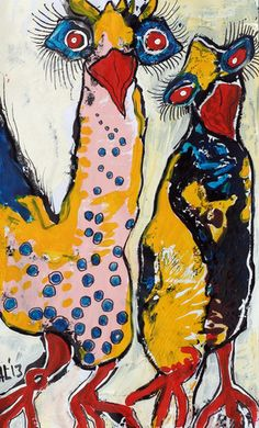 Original LABEDZKI Painting Abstract Outsider Art Siblings 8 5x14 Inches   eBay