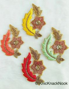 Floral Appliques With Sequins, Zardozi Appliqué Patch In Red And Gold Flowers & Red / Yellow / Coral / Mint Green Leaf Embroidery Zardozi Embroidery, Kurti Embroidery Design, Hand Embroidery Flowers, Hand Work Embroidery, Couture Embroidery, Embroidery Motifs, Diy Embroidery, Simple Embroidery Designs, Hand Work Blouse Design