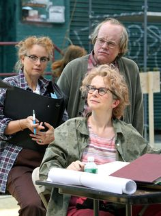 Philip Seymour Hoffman, Samantha Morton and Emily Watson on the set of the film 'Synecdoche, New York,' about a theater director who attempts to create a lif size replica of New York inside of a warehouse. Love Movie, I Movie, Samantha Morton, Emily Watson, Philip Seymour Hoffman, Jean Luc Godard, Upcoming Films, City Style