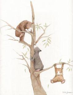 anita jeram illustrations | Baby bears climbing a tree.'