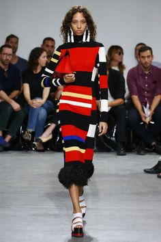 Proenza Schouler | Ready-to-Wear Spring Summer 2017 SS17 | Look 11 - Red, white, black and yellow colour, tenchnology and craft dresses - McCollough said him and Lazaro Hernandez wanted to focus on bringing the energy back to their core codes.