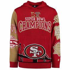 San Francisco Klew Five-Time Super Bowl Champions Commemorative Pullover Hoodie- Scarlet 49ers Super Bowl, Super Bowl Wins, Nhl Jerseys, San Francisco 49ers, Selling Online, Graphic Sweatshirt, T Shirt, Hoodies, Sweatshirts