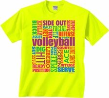 Neon Volleyball Words Bright Yellow T Shirt