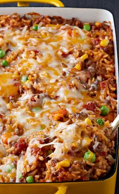 Mexican Beef and Rice Casserole – Here's a tasty—and Healthy Living—way to make a pound of ground beef serve eight: a flavorful beef and rice casserole made with Mexican-style cheese and taco seasoning.