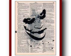 Batman Poster Joker Art Print: Upcycled  Dictionary Pages   Children's Wall Art  Super Hero Wall Decor Art Home Decor