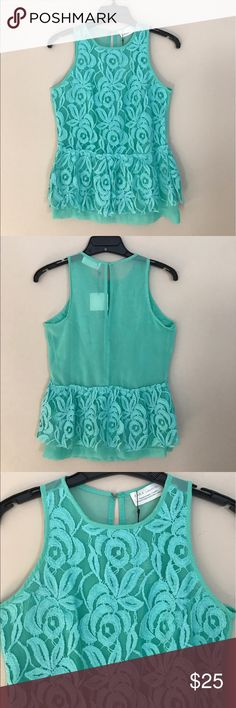 "🆕 Zara Mint Green Lace Peplum Top NWT - Size Small - This Gorgeous Mint Green Peplum Tank is Double Lined with the front outer layer being all Lace & the back being Sheer -  Approximate Measurements are: Length from Shoulder to Bottom Hem is 24"" & Bust from Armpit to Armpit is 16"" Zara Tops Tank Tops"