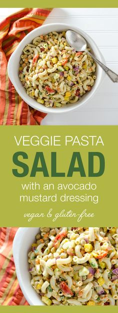 Veggie Pasta Salad with Avocado Mustard Dressing - this gluten-free vegan recipe offers a pleasing combination of pasta, fresh crunchy vegetables and creamy avocado dressing - chickpeas add protein so it works well as a meal or a side dish