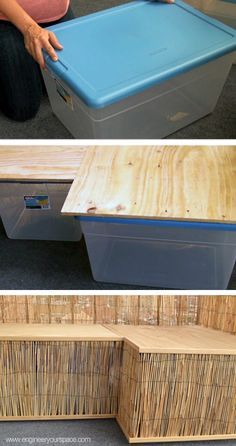 super easy diy bench- made with rubbermaid containers! this would be perfect for around the fire pit i could make it L shaped and put it up against the fence so you could lean on the pillows.
