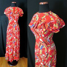 "Amazing 1950' Red Rayon Hawaiian Print Long Dress by ""Malihini Made in Hawaii"" Rockabilly VLV Pool Party Tiki Pinup Hourglass Size-Large"