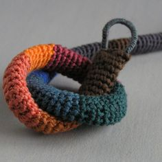 Etsy Transaction - Emma. Crochet knitted multicolor striped choker necklace.