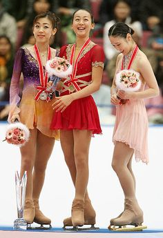 Japanese skater Mao Asada shares a light moment with her compatriot. Women Figure, Ladies Figure, Figure Skating, Photo Credit, Competition, Third, Nagano Japan, December, Ice Skaters