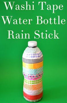 Washi Tape Water Bottle Rain Stick-you probably already have the supplies in your house for this quick toy!