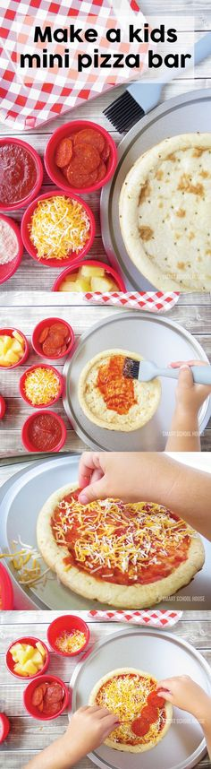 "Make a kids pizza bar! Include mini pizzas, small cups of various toppings, and a brush to ""paint"" on the pizza sauce (it keeps things cleaner). (easy kids recipes children)"