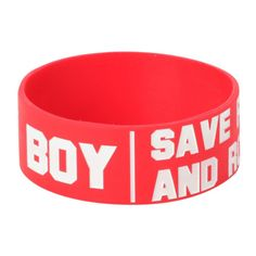 Fall Out Boy Save Rock And Roll Rubber Bracelet | Hot Topic ($4.90) ❤ liked on Polyvore featuring jewelry, bracelets, red jewelry, rock and roll jewelry, red bangles, white bracelet and bracelet bangle