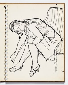 Diebenkorn, pen and ink, Page 03 from Sketchbook # 13 [seated clothed woman with high hills bending over]