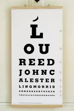 The Velvet Underground Eye Test Chart