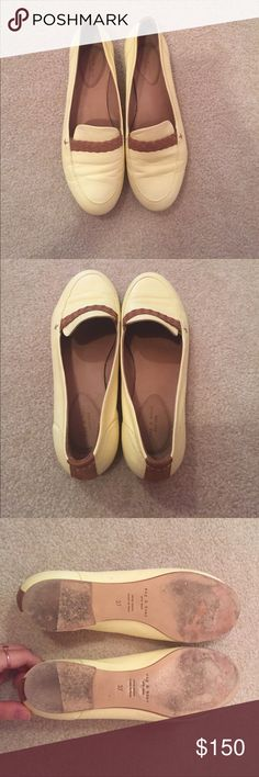 Yellow Rag & Bone Saville braided loafers 7 Light yellow soft loafers with brown accents. Perfect for the summer! rag & bone Shoes Flats & Loafers