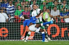 Italy 2 Rep of Ireland 0 in 2012 in Poznan. Mario Balotelli scores with a overhead kick to make it 2-0 on 90 minutes in Group C at Euro 2012.