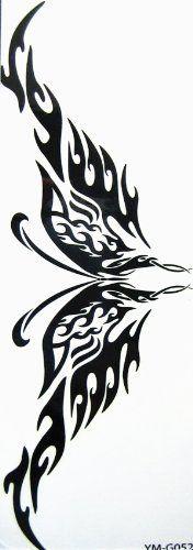 http://cheune.com/health YiMei Sexy Luxury Black Totem Temporary Tattoo Waist Armband Waterproof butterfly flower Tattoo for Women