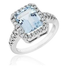 White Gold Aquamarine And Diamond Ring 1/3ctw ($1,518) ❤ liked on Polyvore