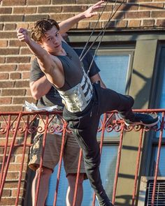 "Tom Holland on set of ""Spider-Man: Homecoming"" in Queens, New York"