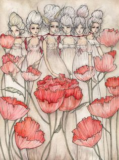 """Les Merveilleuses, ink and watercolor on paper, 12""""x16"""" by liz corbett"""